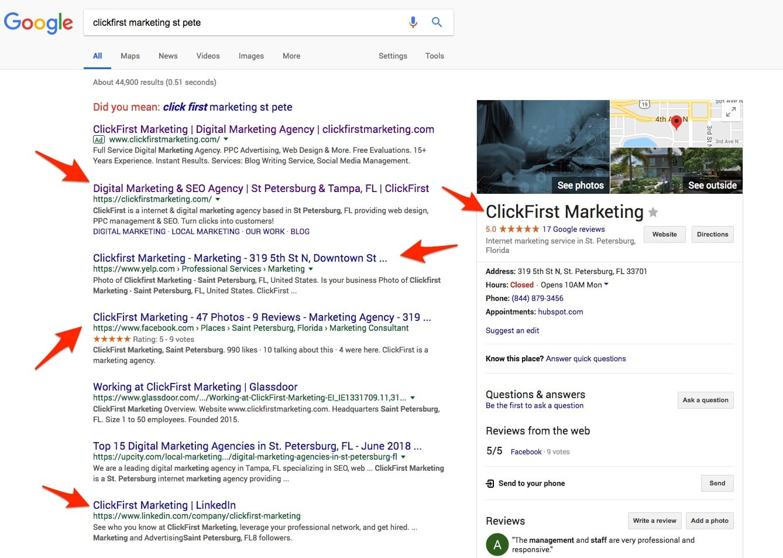 Google SERP for ClickFirst Marketing
