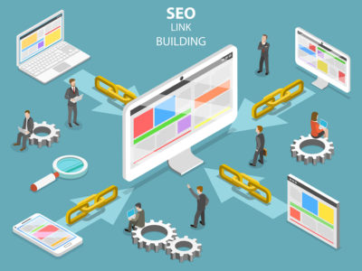 SEO link building flat isometric vector concept. Concept of SEO and digital marketing.