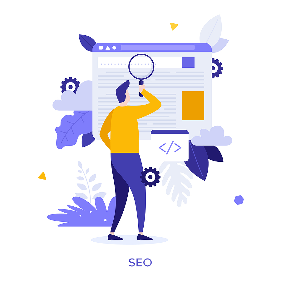 Man holding giant magnifier or loupe. Concept of SEO or search engine optimization, optimizing website through HTML code modifying, online marketing strategy. Modern flat vector illustration.