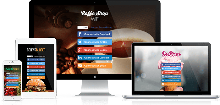 Computer, tablet and phone all with social wifi landing page