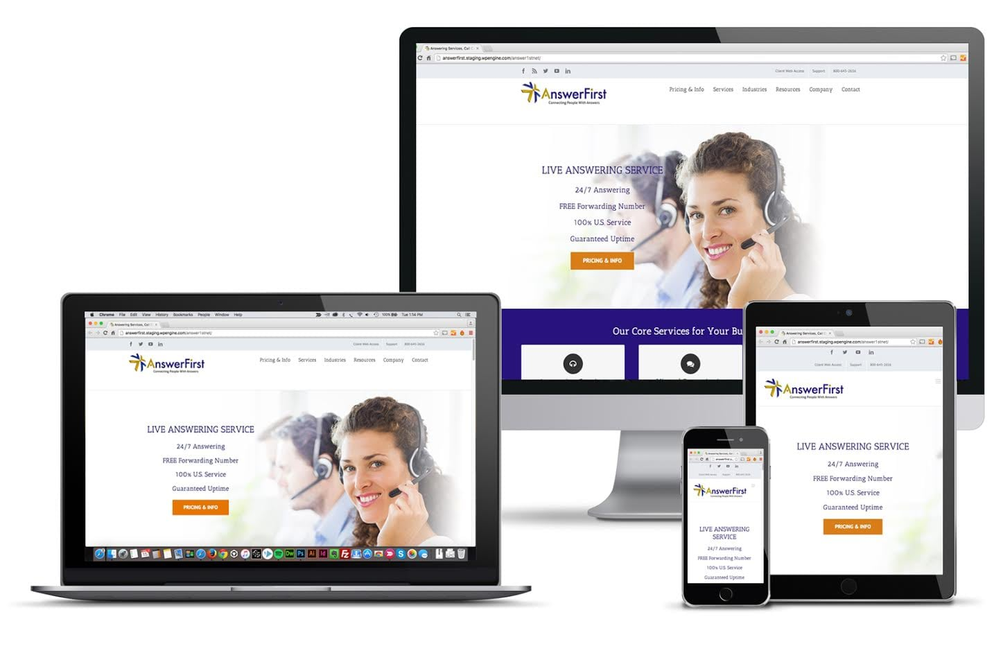 Responsive website shown on various sizes of screens
