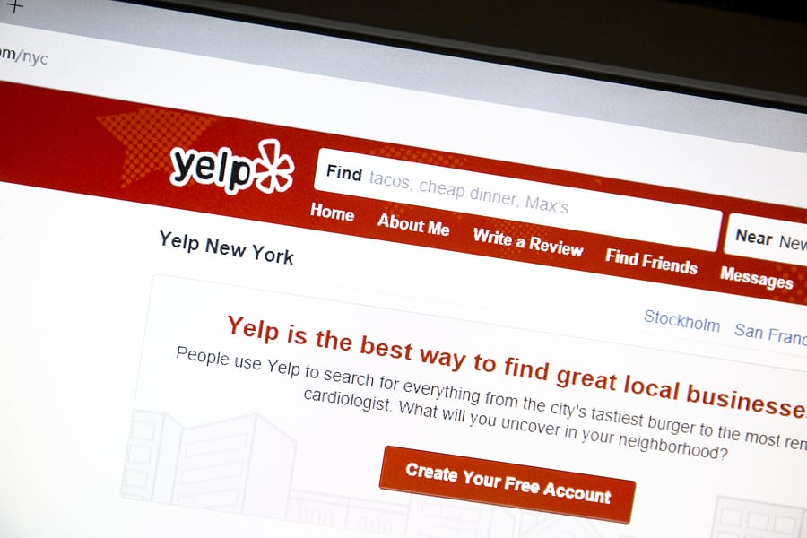 Yelp website on a computer screen.