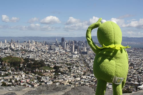 Kermit the frog overlooking a city