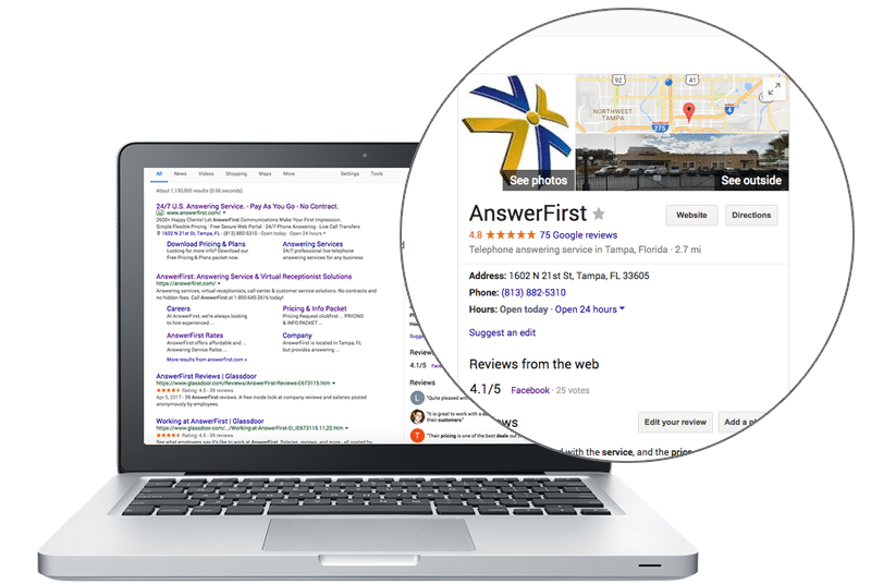 ClickFirst Client Ranking High in Google with Great Online Reviews