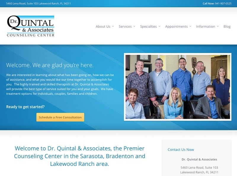 Dr. Quintal and Associates Counseling Center Website Screenshot