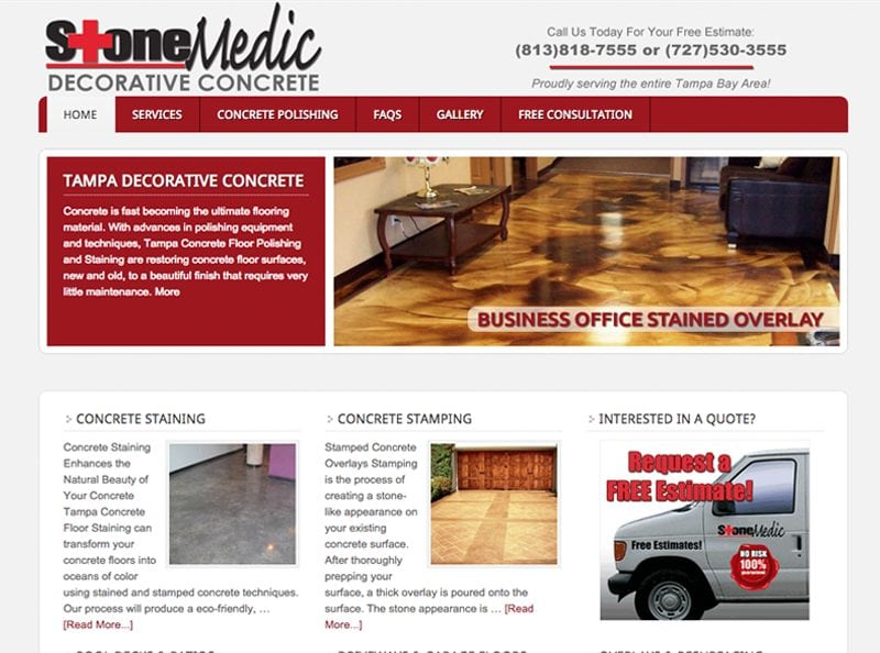 Stone Medic Decorative Concrete Website Design